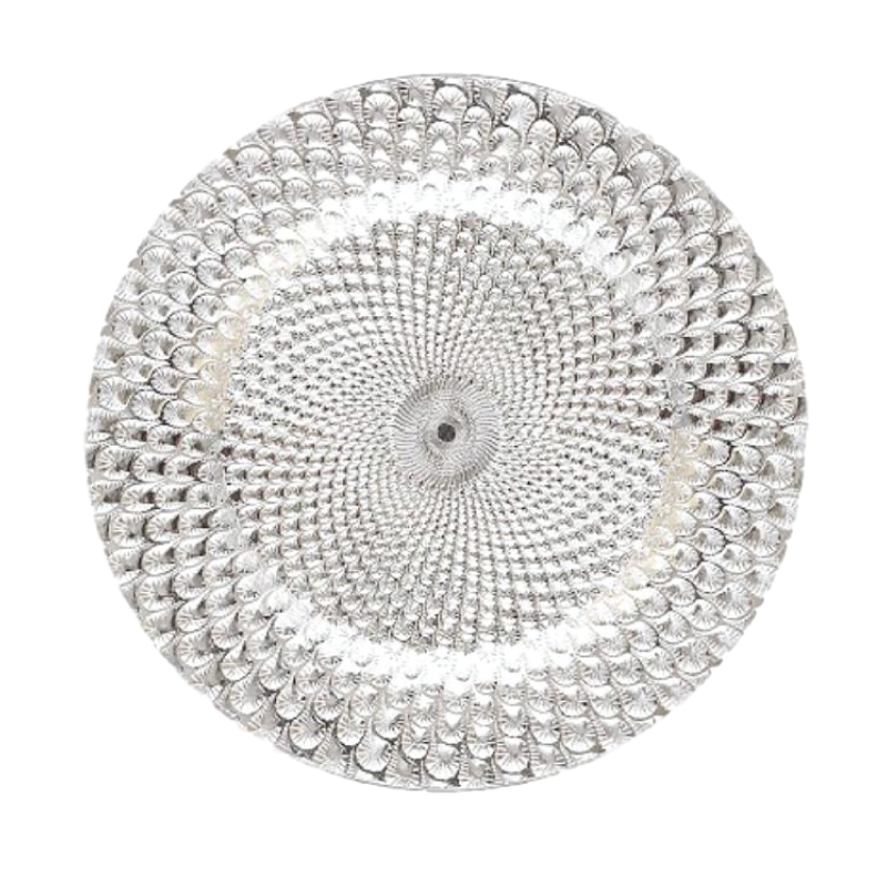 "PEACOCK SILVER CHARGER   available in: Charger Plate (13"")"
