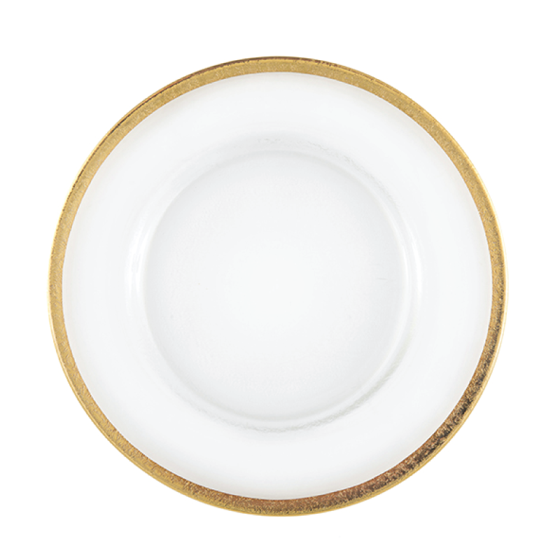 "GLASS GOLD RIM CHARGER   available in: Charger Plate (12.5"")"