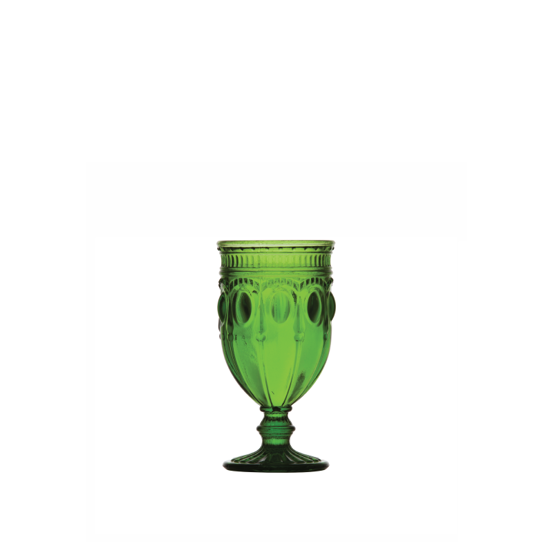 PARISIAN OLIVE GREEN FOOTED GLASS   available in: 12 ounce