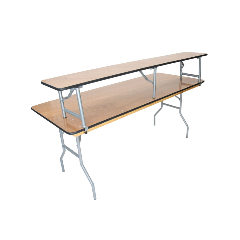 "BAR RISER TABLE   available in: 15"" x 4'; 15"" x 6', 15"" x 8'"