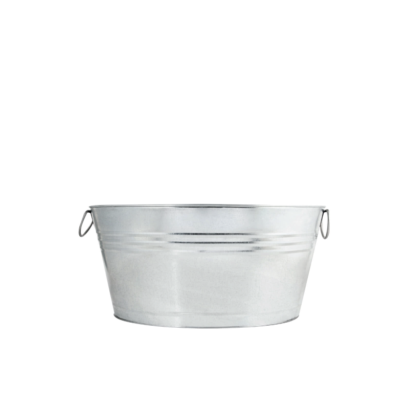 "GALVANZED METAL TUB   available in: 20"" x 15"" oval x 11"" h"