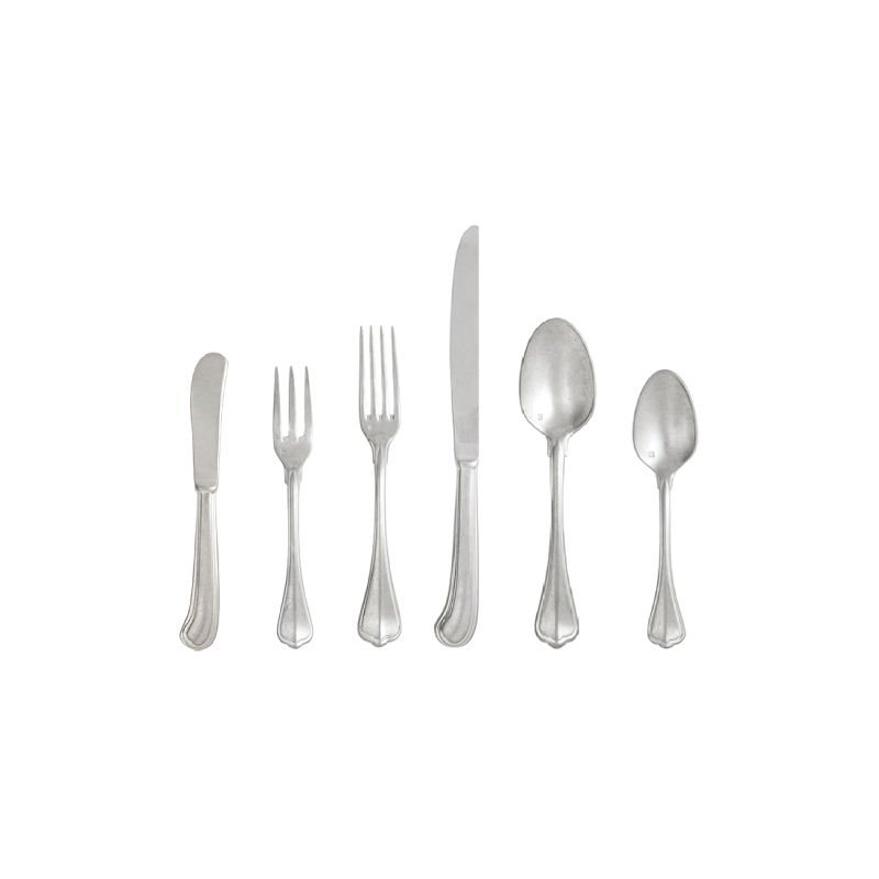 "HAMPTONS FLATWARE   available in: Butter Knife (6.8""), Salad Fork (7.3""), Dinner Fork (8.4""), Dinner Knife (9.8""), Dessert/Soup Spoon (7.5""), Tea Spoon (5.6"")"