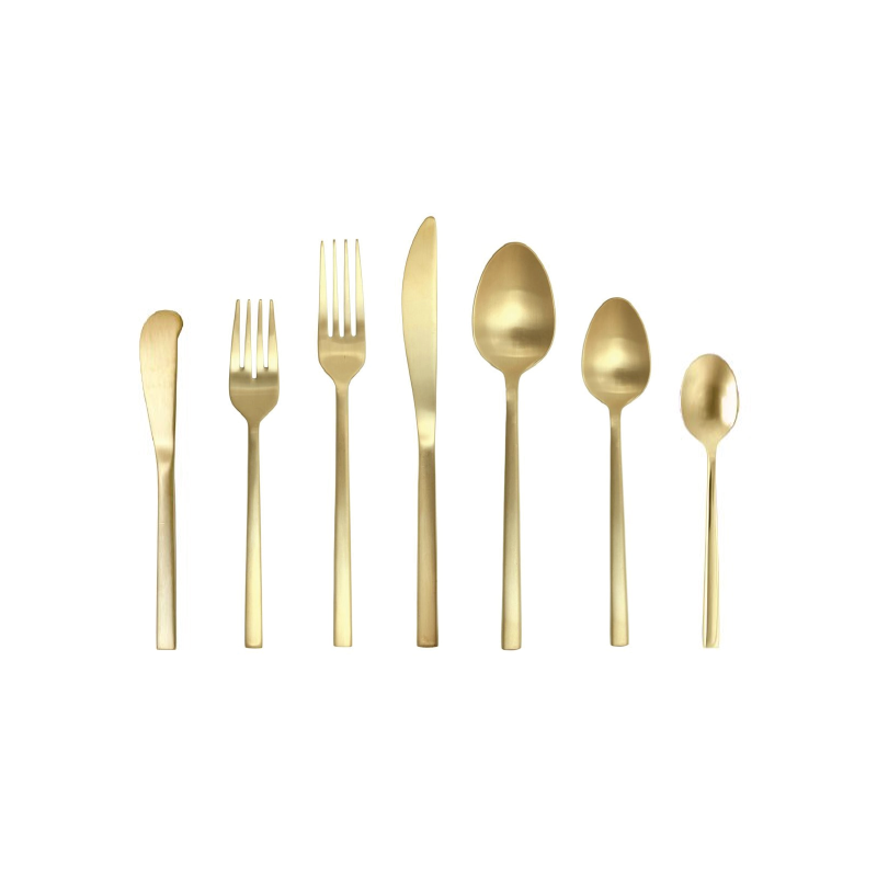 MATTE GOLD FLATWARE   available in: Butter Knife, Salad Fork, Dinner Fork, Dinner Knife, Dinner Spoon, Teaspoon, Demitasse Spoon