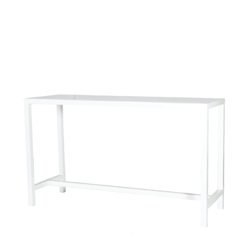 "WHITE METAL COMMUNAL TABLE   6'l x 2'w x 44""h"