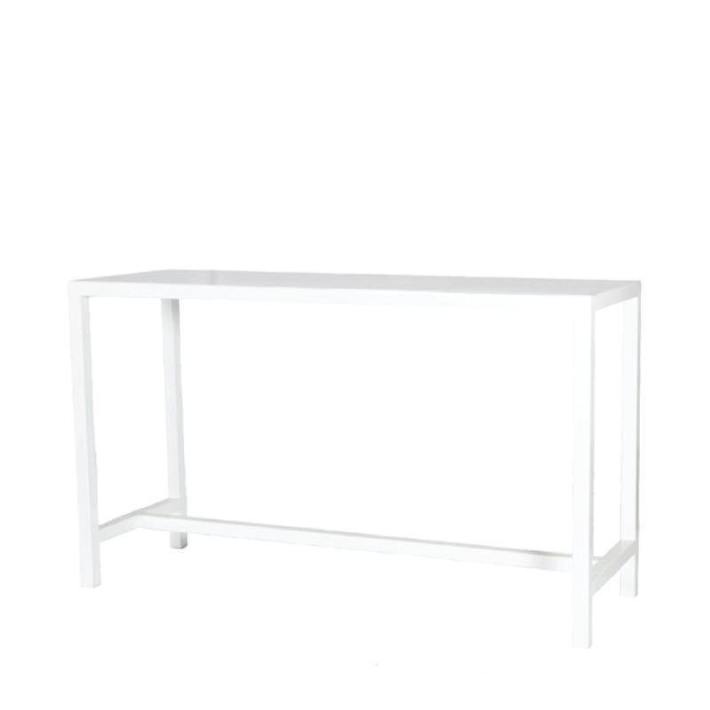 """WHITE METAL COMMUNAL TABLE   6'l x 2'w x 44""""h"""