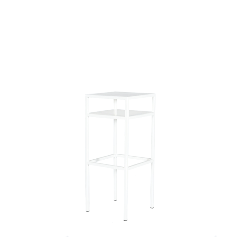 "WHITE METAL BISTRO TABLE   18""l x 18""w x 44""h"