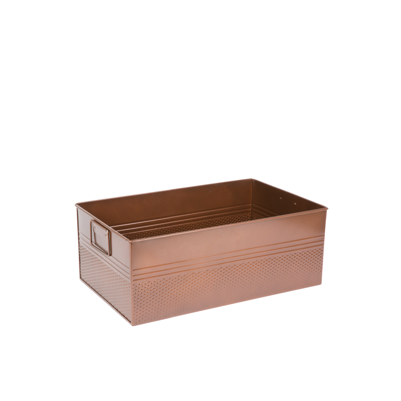 "COPPER FINISH METAL TUB   available in: 20"" x 12.25"" x 8"" h"