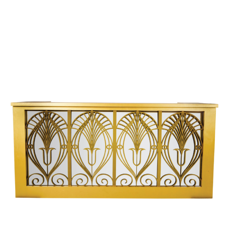 "GATSBY GOLD BAR FACADE   8'l x 44""h x 15"" top with 16"" side returns"