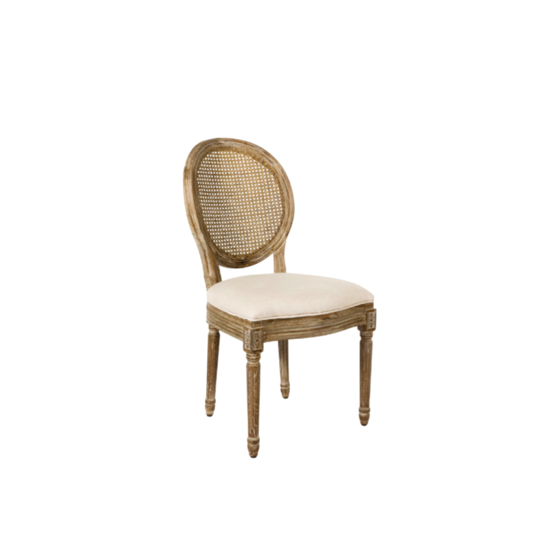 "LINEN CANE BACK DINING CHAIR   20""l x 24""d x 38""h"
