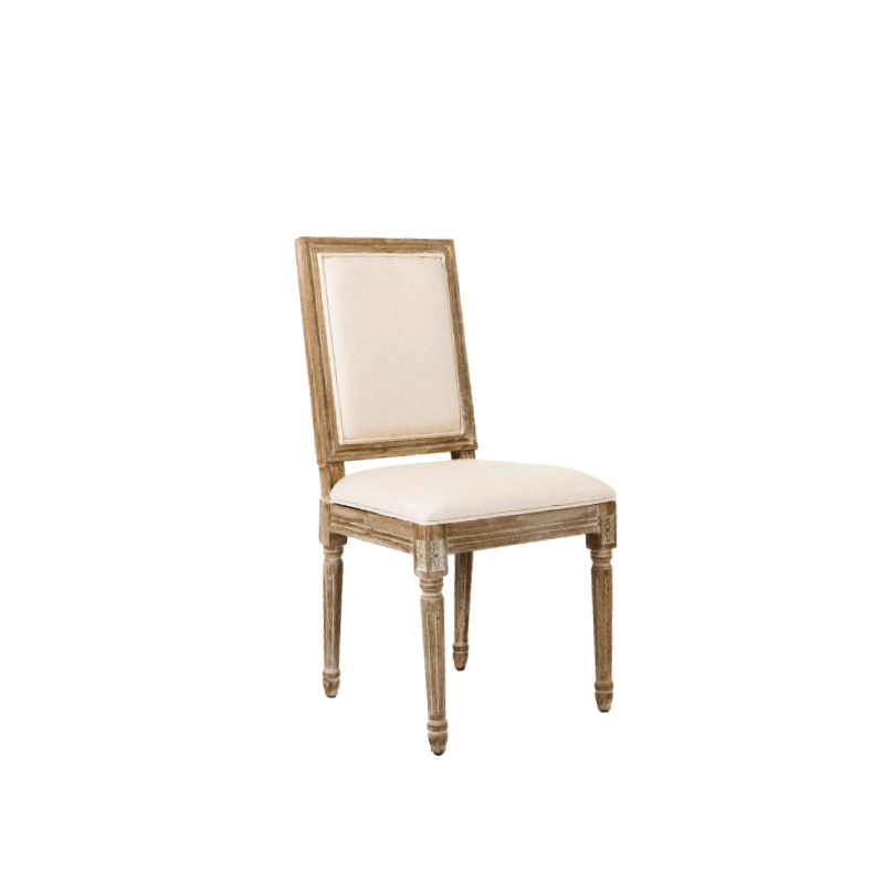 "LINEN SQUARE BACK DINING CHAIR   18""l x 20""d x 38""h"