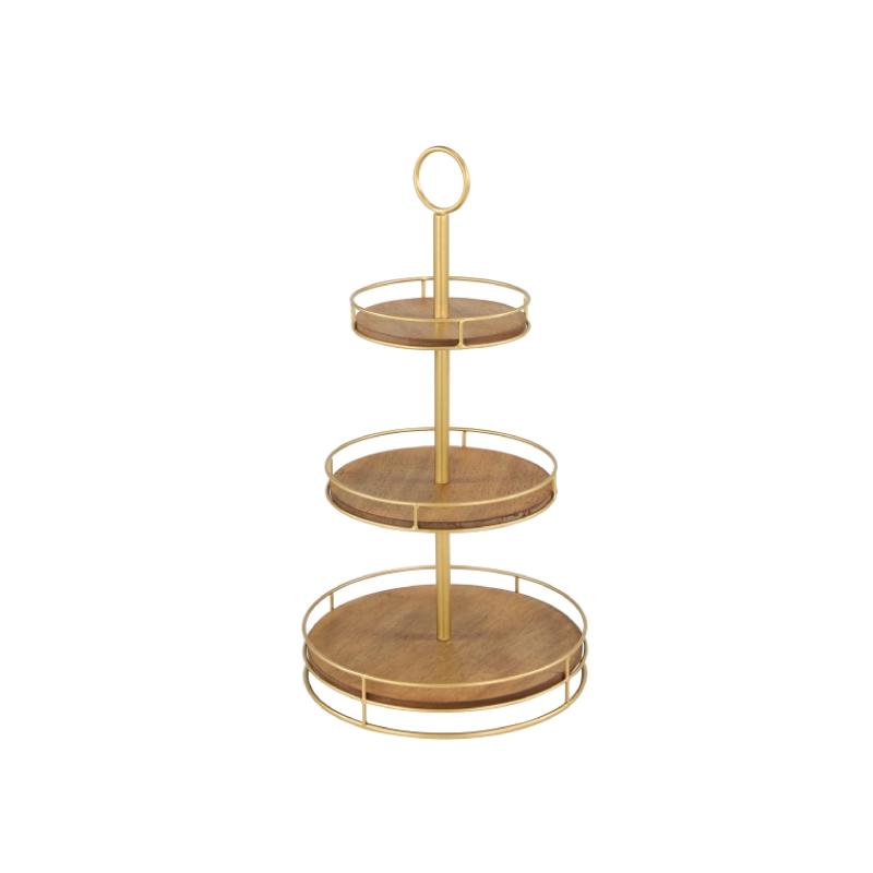"WOOD & GOLD METAL 3-TIER SERVER   dimensions: 8"", 11"", 14"" x 27""h"
