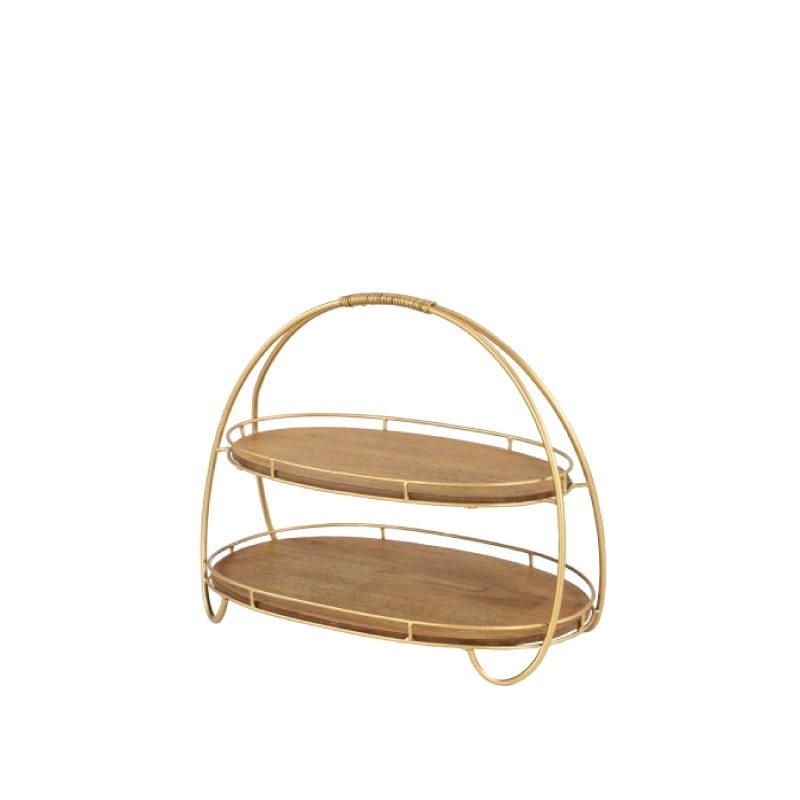 """WOOD & GOLD METAL 2-TIER OVAL SERVER   dimensions: 20""""w x 10""""h"""