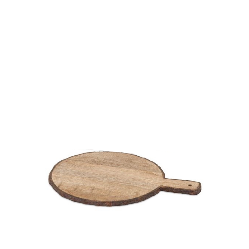 """WOOD BARK ROUND CHEESE TRAY   available in: 16.25"""""""