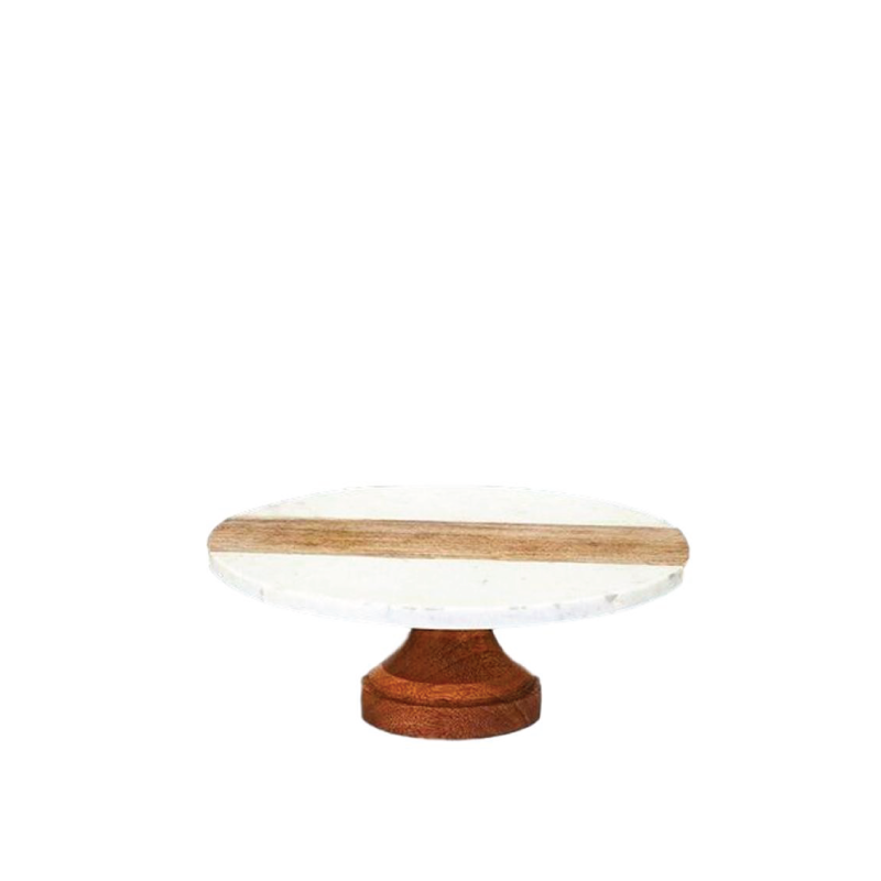 """MARBLE & WOOD STAND - LARGE   available in: 11. 13""""d x 5''h"""