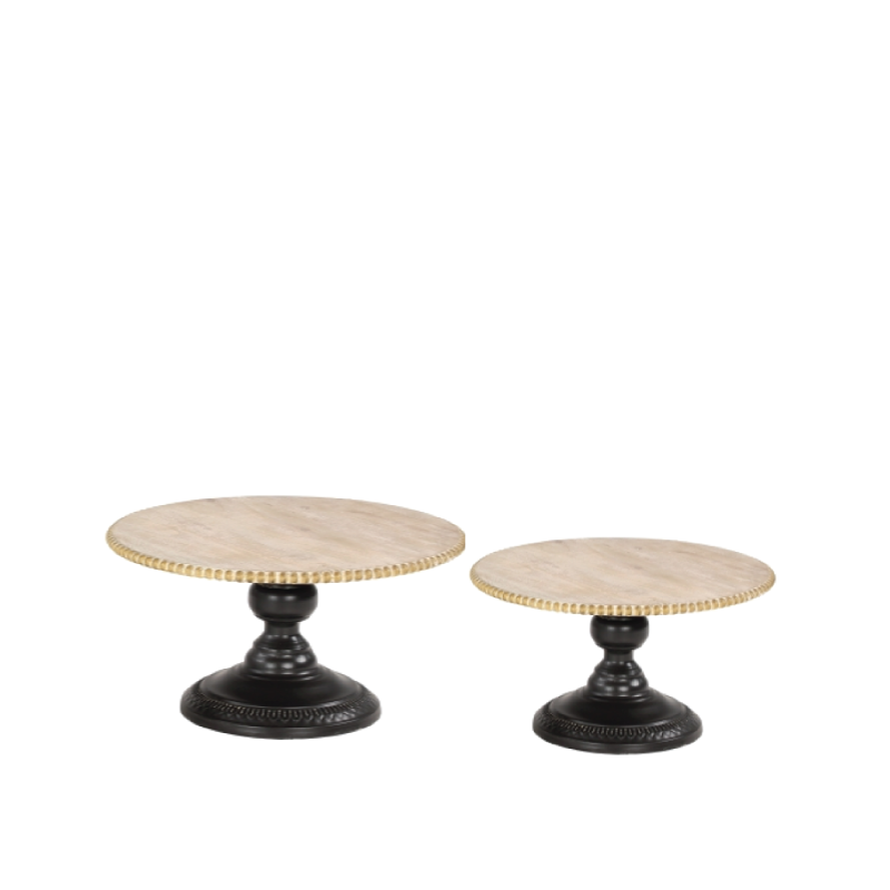 """WOOD & BLACK METAL STAND SET   available in: 8""""d x 6''h, 16""""d x 8''h"""