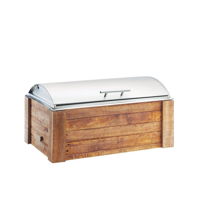 WOOD RECTANGULAR CHAFING DISH   available in: 8 quart