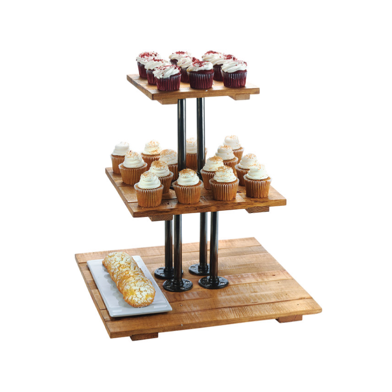"WOOD 3-TIER SQUARE RISER - XL   dimensions: 20.75""w x 20""h"