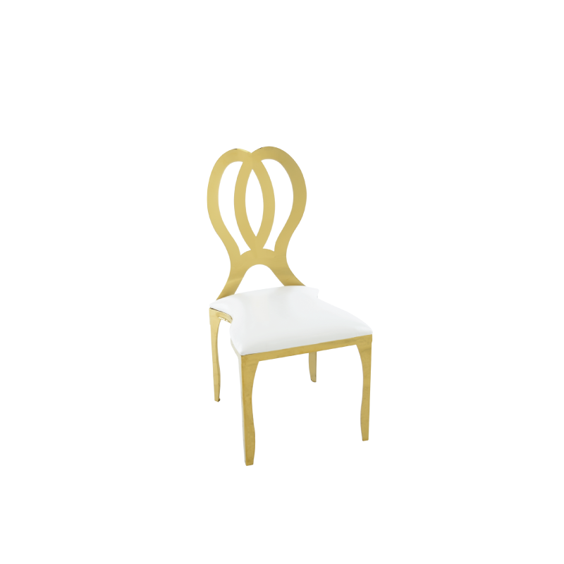 "GOLD HELIOS DINING CHAIR   18""l x 19""d x 38""h; available white or black cushion"