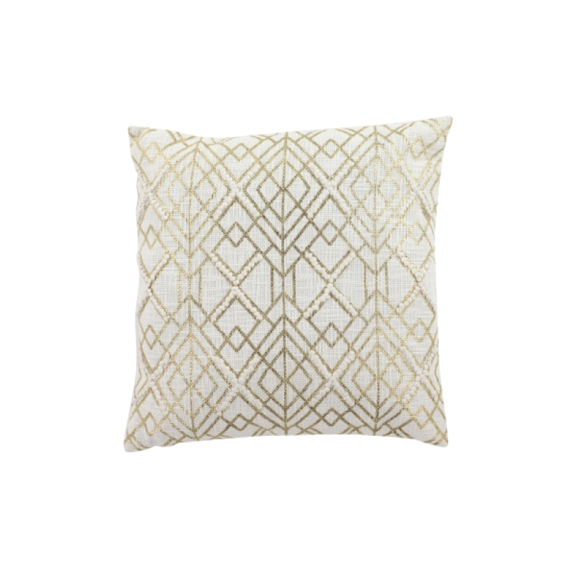 "IVORY & GOLD GEOMETRIC PILLOW   20""l x 20""h"