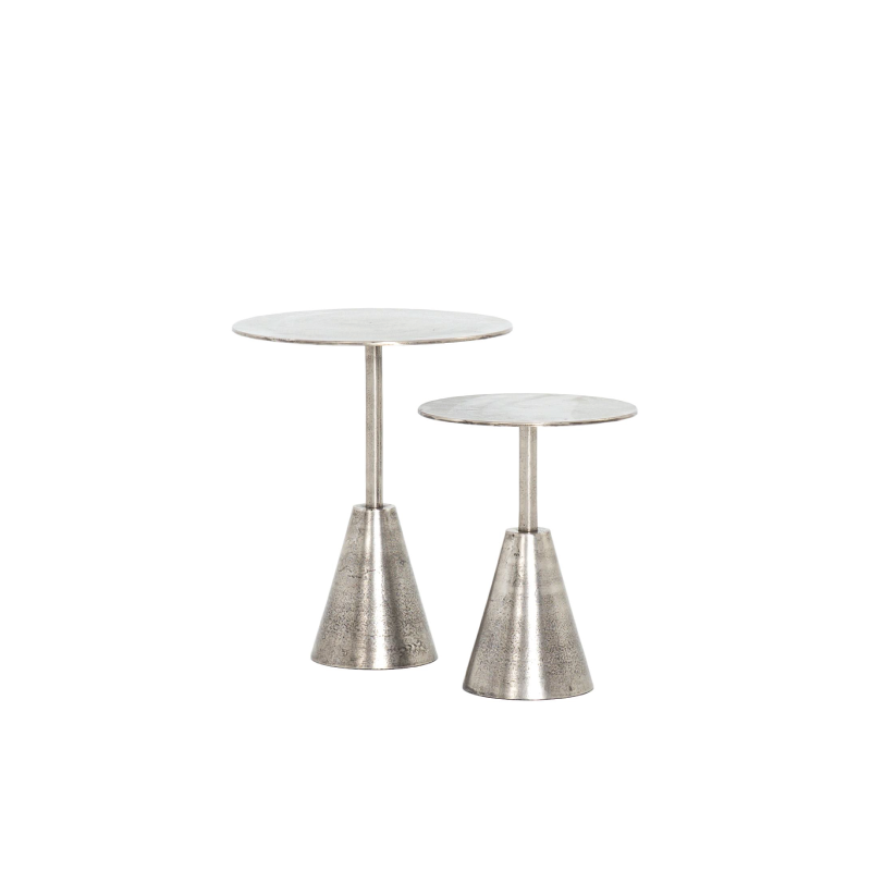 "LINDEN SILVER PEDESTAL TABLES (SET OF 2)   16"" diameter x 20""h; 12"" diameter x 15.75""h"