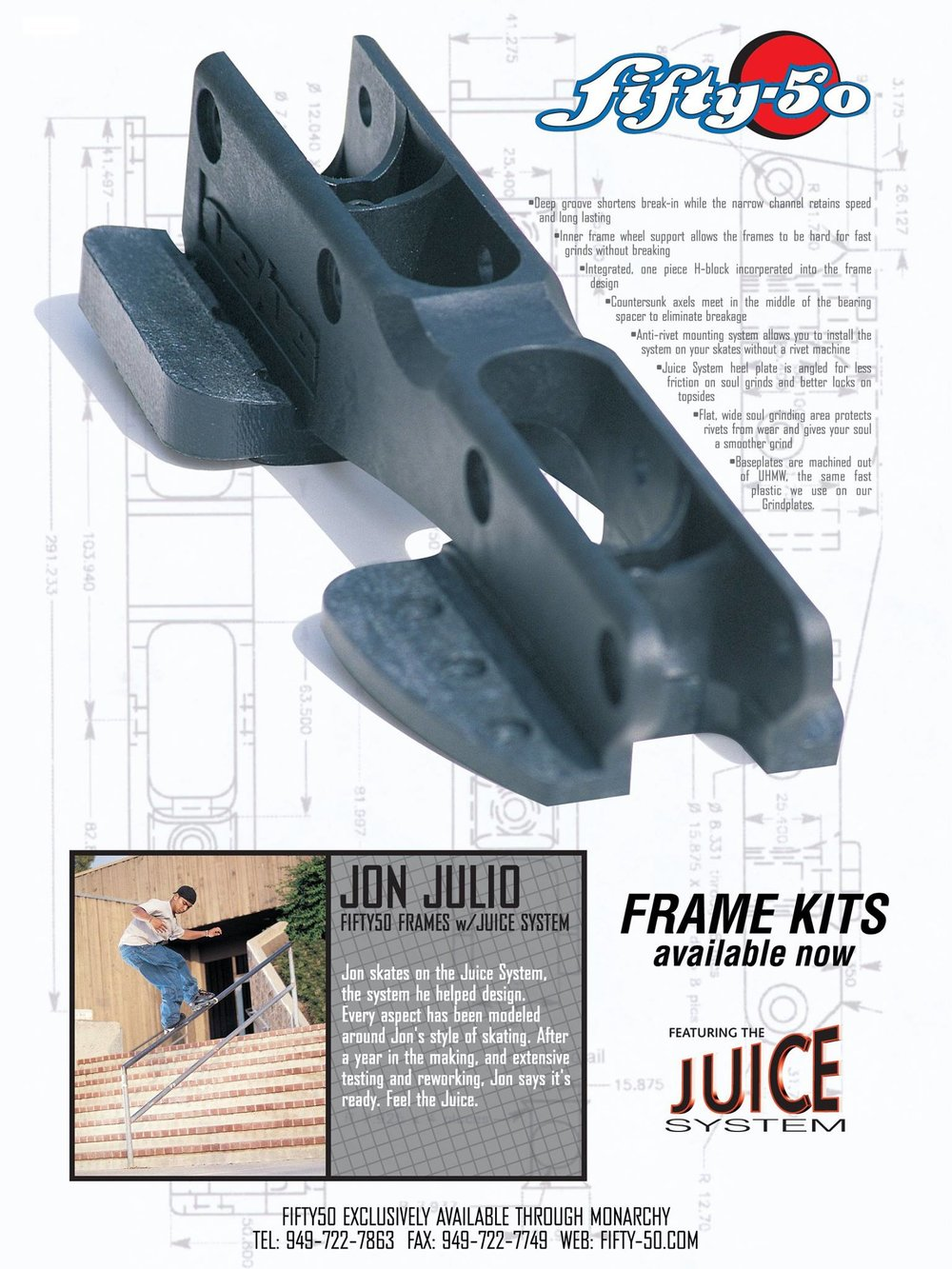 After testing for a few weeks we knew the moulded frames were going to be good. Jon Julio was featured in the first ad highlighting the technical benefits of the frame and the Juice System.
