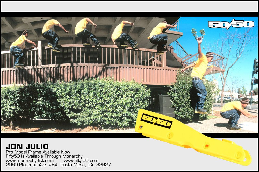 Jon Julio was in the second pro frame ad, shown in Daily Bread issue 35 around December 1999. Another sequence shot by Jess Dyrenforth, this one showcased Jon's yellow frame.