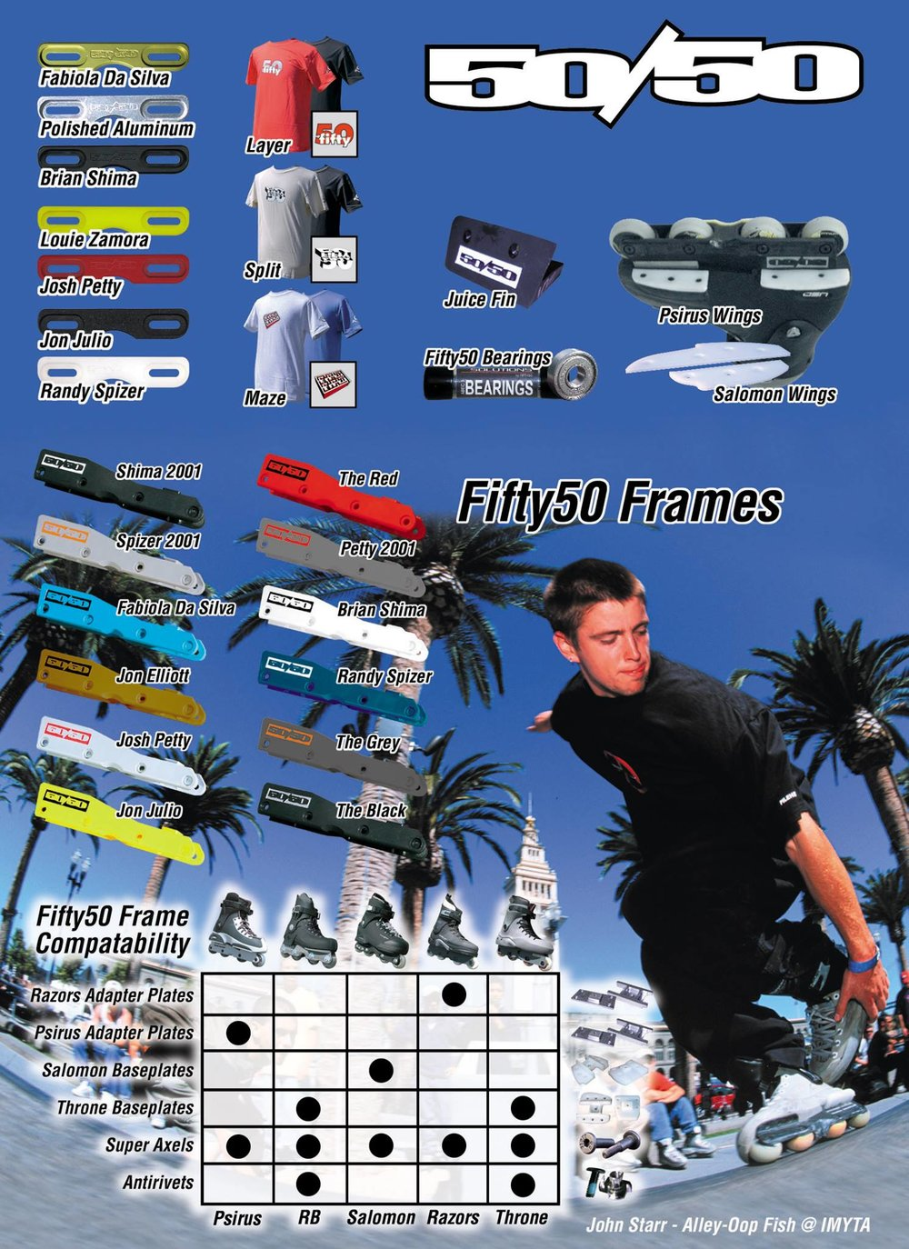 The peak of 50/50 frames was visiable in this September 2000 Skate House ad. 12 different colors. You can see the different skates that were compatible as well.
