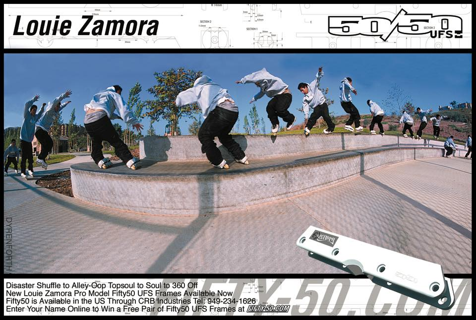 The 50/50 Pro Model for Louie Zamora was one of our favorite sequence shots ever. An incredible switchup, shot up close by Jess, the fisheye made this curved ledge look wavy.