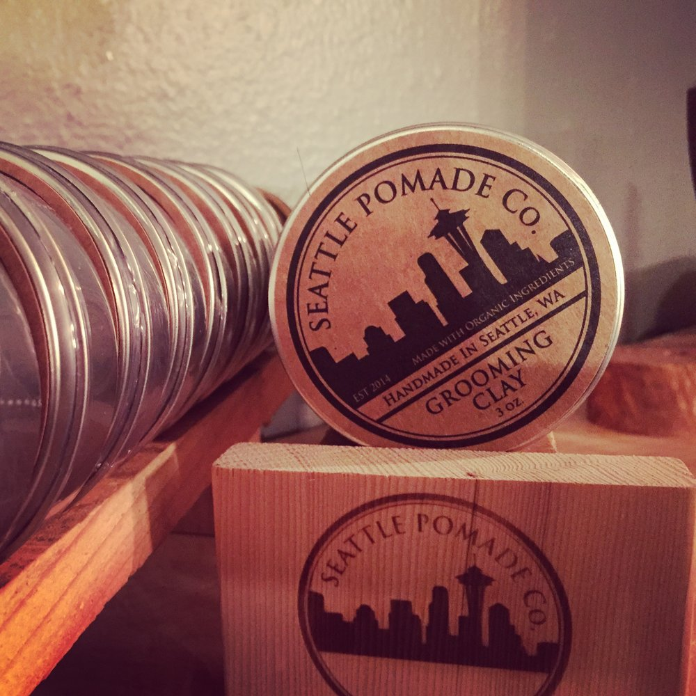 SEATTLE   POMADE             CO. -  Hand crafted from organic ingredients, Seattle Pomade Co. Grooming Clay, Pomade, Beard Oil, and Salt Spray, shape and perfect any cut. Light, natural fragrances with bold hold and workability for a lasting, natural looking style.