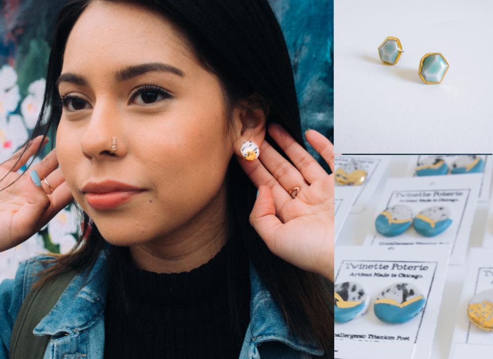 Porcelain Earrings - 22k Gold Accented