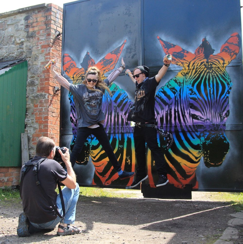 'Rainbow Zebra' mural by young people at Wildplace Conservation Project, Bristol