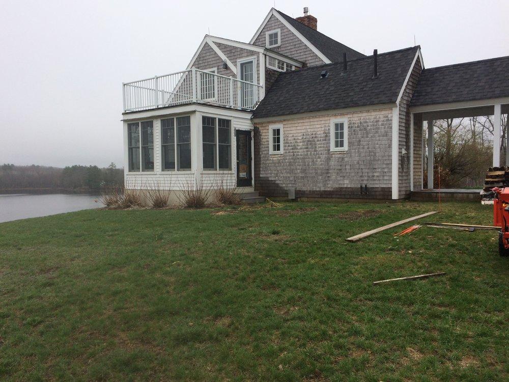 Before (6 custom cedar raised beds for lakeside home)