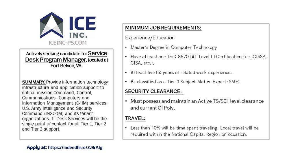 Ice Inc Is Seeking Candidates Httpsindeedhi2j3raig Ice Inc