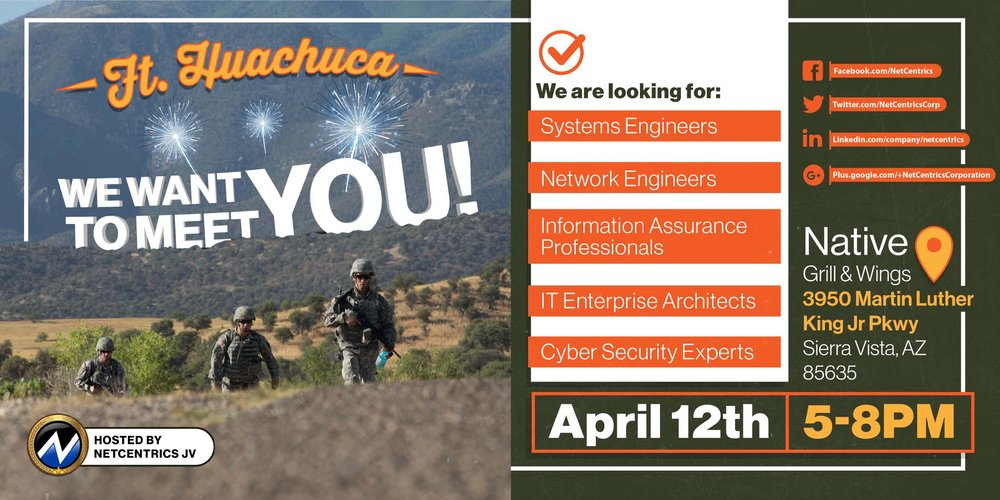 APRIL 12th, 2018 from 5 - 8pm @ Native Grill & Wings (Sierra Vista, AZ)