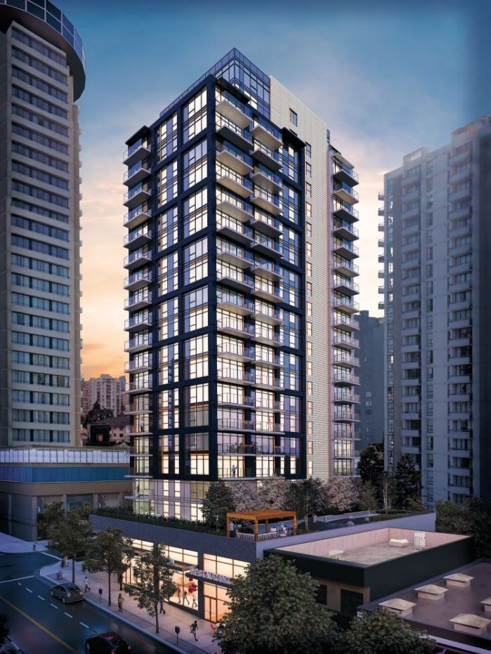The 21-storey tower at 1500 Robson St. will feature 128 market rental units. Rendering IBI Group