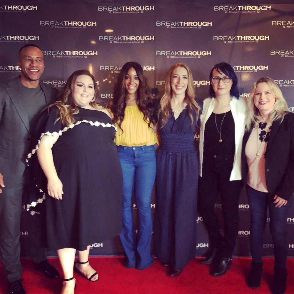 "Producer DeVon Franklin and actress Chrissie Metz with the 3 writers of ""Hold On"": Mickey Guyton (yellow shirt), Victoria, and Karen Kosowski (white jacket)."
