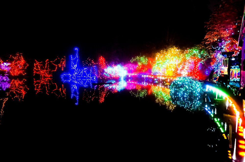 - A Christmas canvas over the water at Bright Nights Stanley Park.