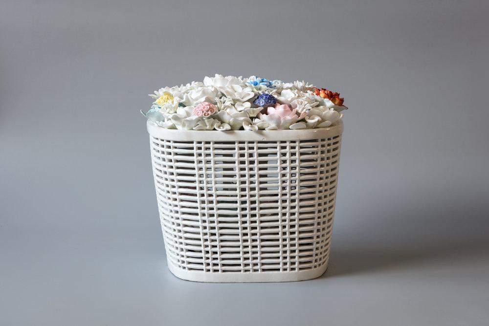 Bicycle Basket with Flowers in Porcelain , 2014, Porcelain,Courtesy of Ai Weiwei Studio & Sakip Sabanci Museum / Ai Weiwei Studio ve Sakıp Sabancı Müzesi izniyle.