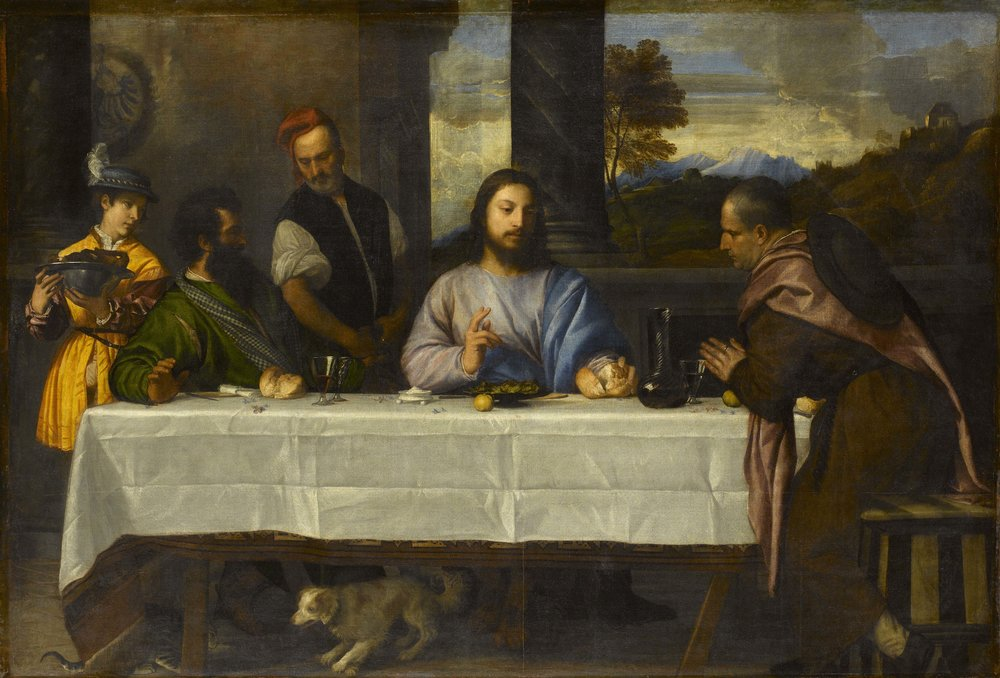 Titian, The Supper at Emmaus, c.1530, Oil on canvas, 169 x 244 cm, Paris, Louvre Museum, Department of Paintings, inv. 746   Photo © RMN-Grand Palais (musée du Louvre) / Stéphane Maréchalle.