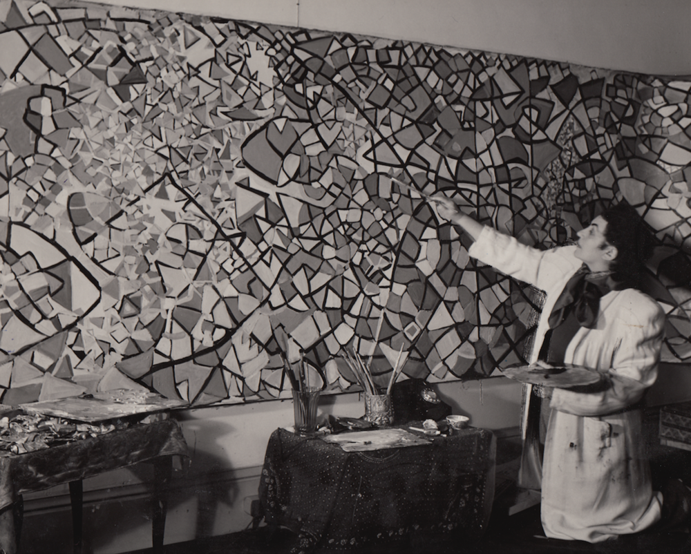 In the London studio painting Voyage of the Man Moon, 1949 (Fahrelnissa Zeid, Painter of Inner Worlds, Lalidi-Hanieh, Adila, p. 103)