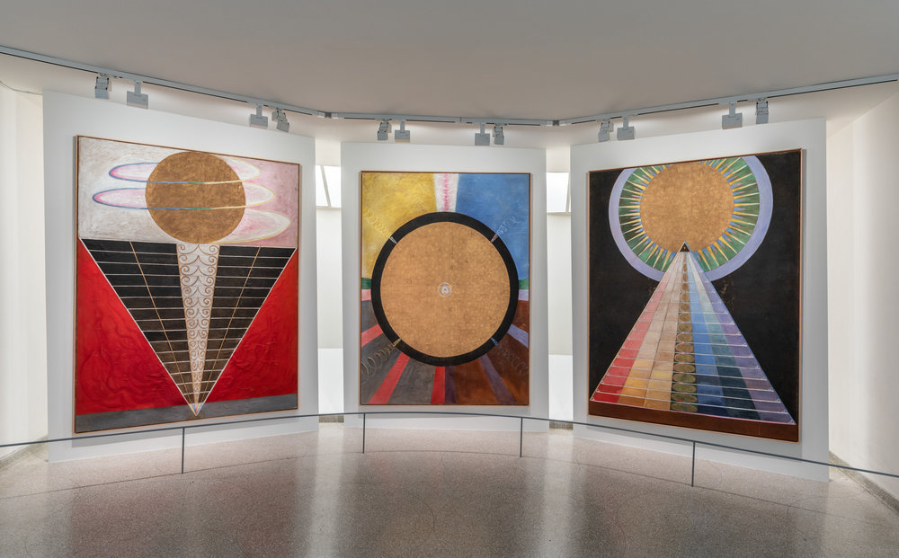 Installation view:  Hilma  af  Klint: Paintings for the Future , Solomon R. Guggenheim Museum, New York, October 12, 2018–April 23, 2019, Photo: David Heald.