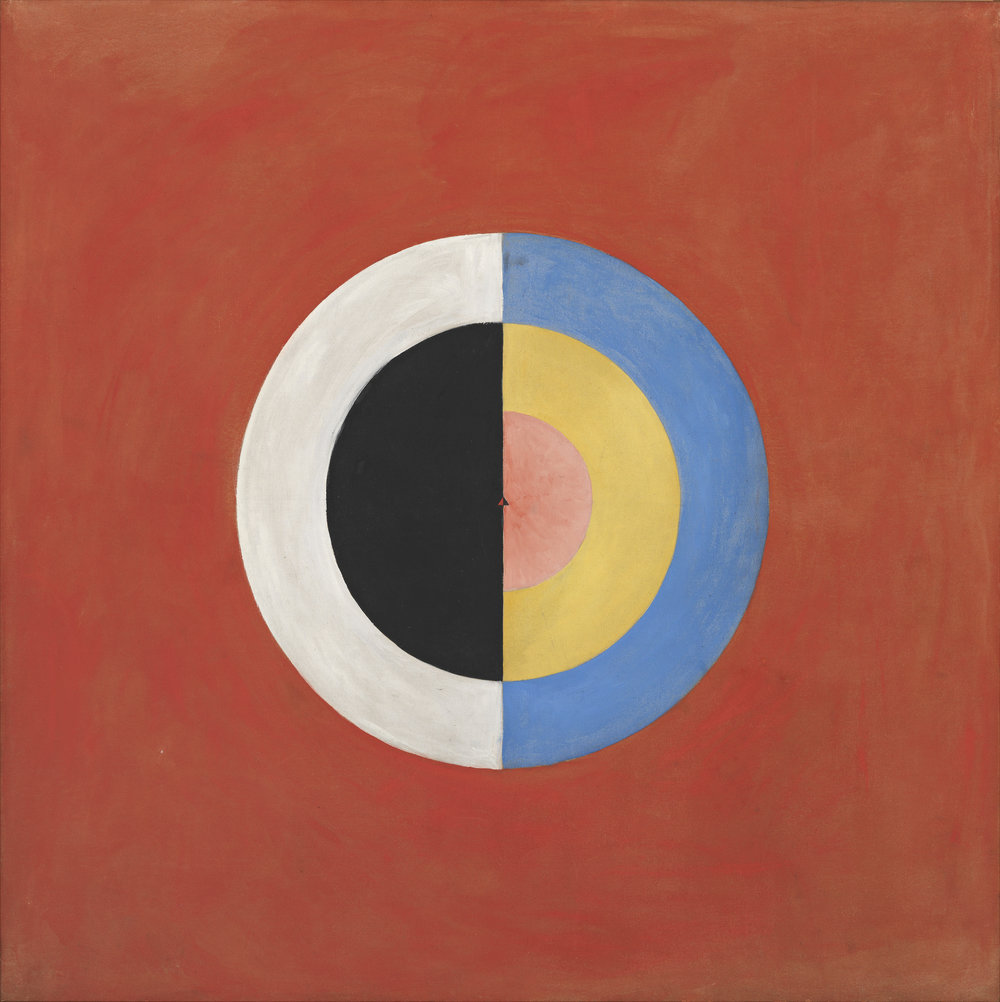 Hilma af Klint,  Group IX/SUW, The Swan, No.17  ( Grupp IX/SUW, Svanen, nr17 ), 1915 from  The SUW/UWSeries (Serie SUW/UW ) Oil on canvas, 150.5 x 151 cm