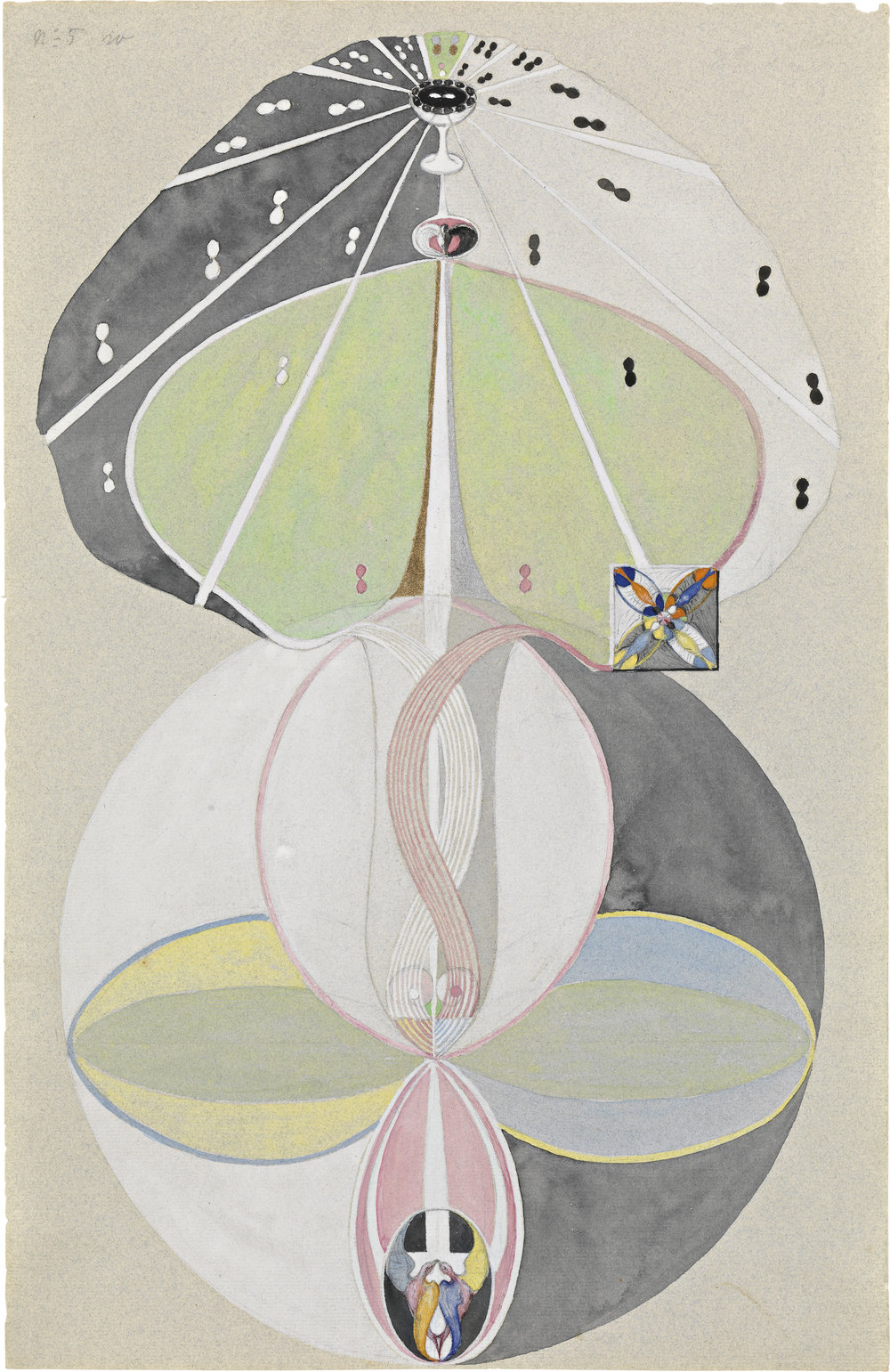 Hilma af Klint,  Tree of Knowledge, No. 5  ( Kunskapens träd, nr 5 ), 1915, from  The W Series  ( Serie W ), Watercolor, gouache, graphite and metallic paint on paper 18 1/16 x 11 5/8 inches (45.8 x 29.5 cm), The Hilma af Klint Foundation, Stockholm, Photo: Albin Dahlström, the Moderna Museet, Stockholm.