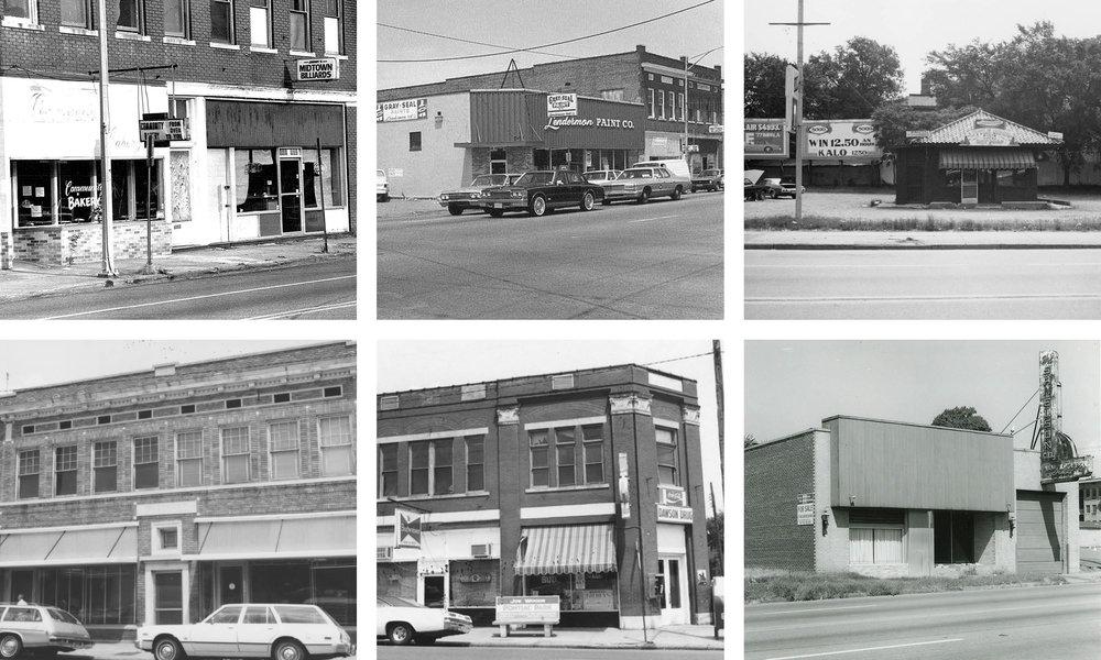 Photographs top left to right: Community Bakery and Midtown Billiards in 1983, Sweet Home Furnishings & Clement building, The Bernice Garden location in 1980, Bottom left to right: Boulevard Bake House & Market and Moxy Mercantile building, The Green Corner Store and Loblolly Creamery building, ESSE Purse Museum building ca. 1988