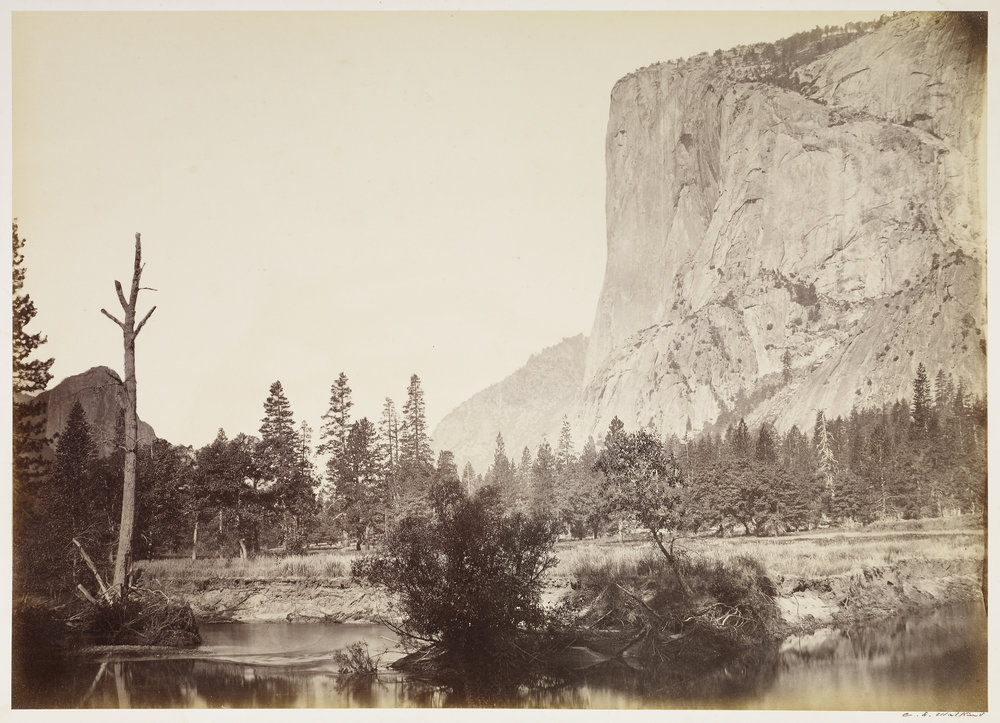 Carleton Watkins (American, 1829 - 1916)  El Capitan, 3600 ft., Yo Semite , negative 1861; print about 1866, Albumen silver print 39.1 × 51.3 cm (15 3/8 × 20 3/16 in.) The J. Paul Getty Museum, Los Angeles