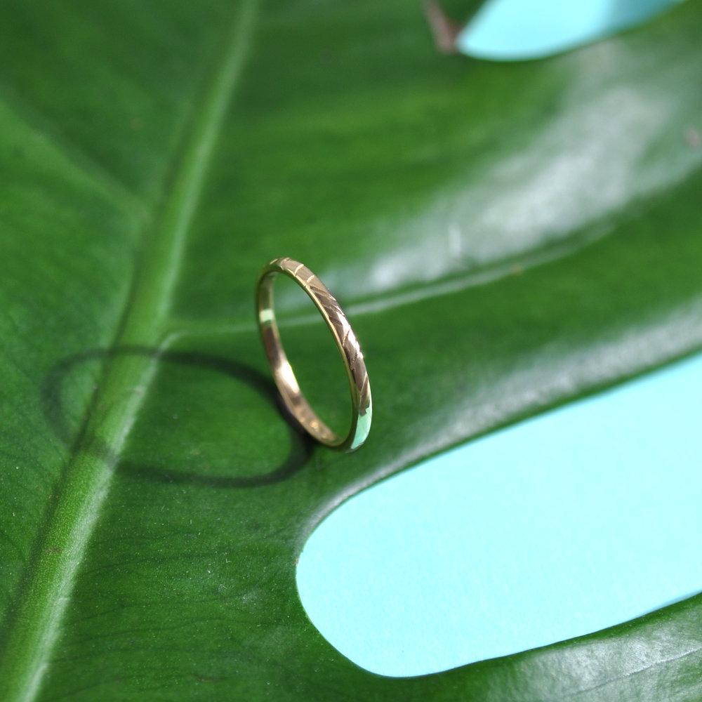 10k yellow gold repurposed ring with custom leaf print engraving