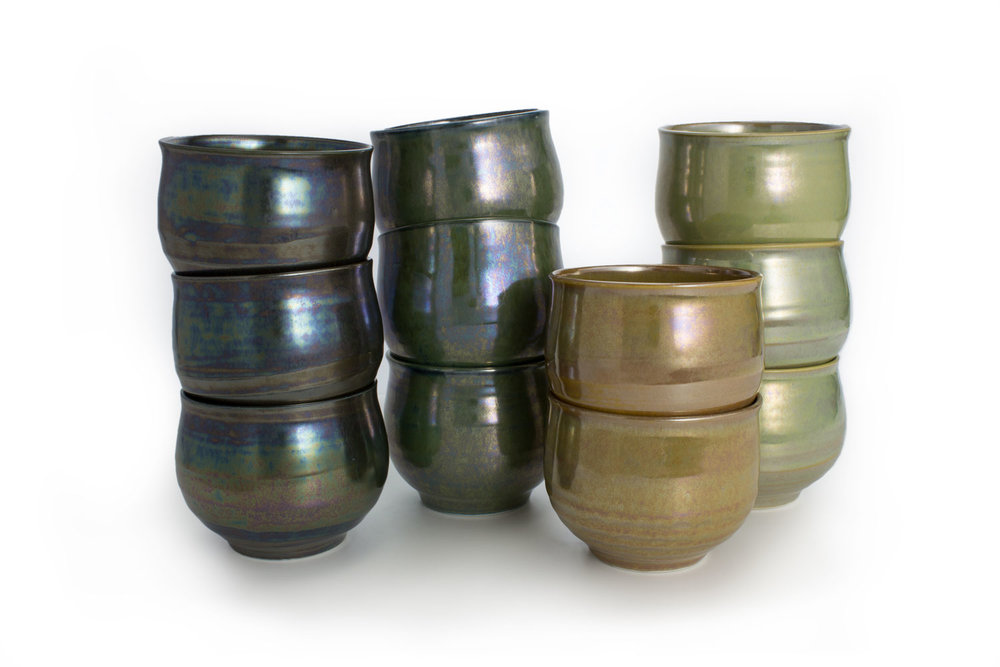 TB tea bowl - tea bowls are....things that you drink tea out of.   Available in: Black, Green, Copper and Chartreuse.