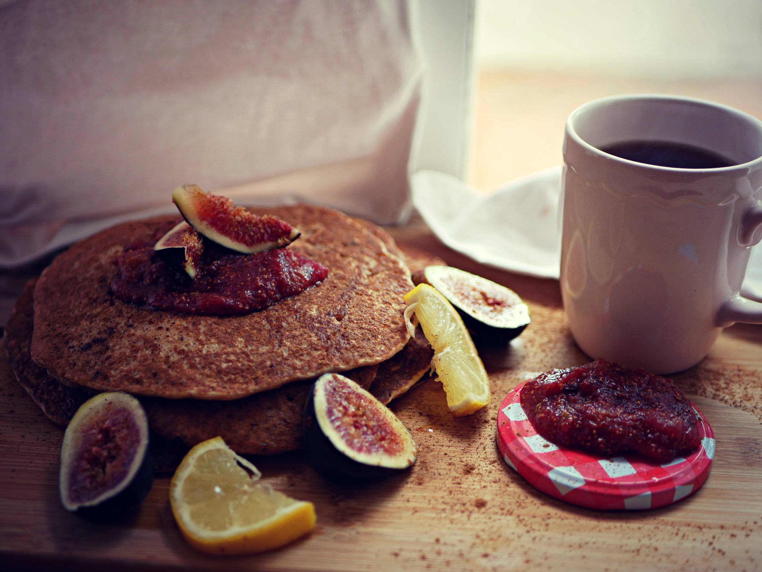 apple pancakes with fig jam