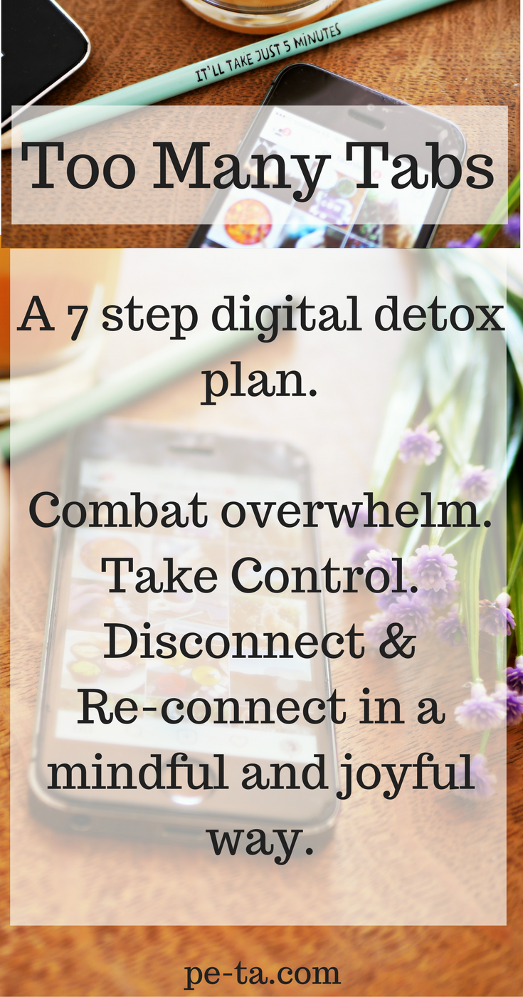 Too Many Tabs - A 7 Step Digital Detox Plan. Download the e-book on pe-ta.com