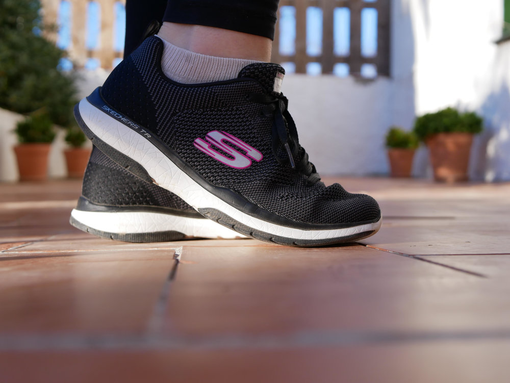 I love how comfy these  Skechers Burst TR  are, they're actually for running but I wear them around the house at home and to pop into town in.